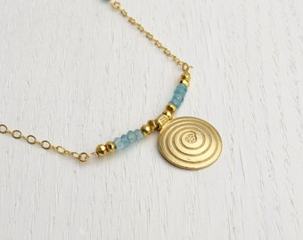 Blue apatite necklace, Gemstone bar necklace, Gold spiral pendant