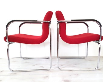 Pair Mid Century Arm Chairs ~ Red Upholstered / Chrome Tube Chair ~ Red Retro Tube Accent Chair ~ Pair Vintage Chairs
