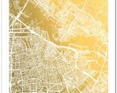 Gold Foil Amsterdam Street Map, Gold Foil Map, Gold Print, Gold Foil Wall Art, City Map, Trendy Art, Gold Wall Decor, Amsterdam Map Print