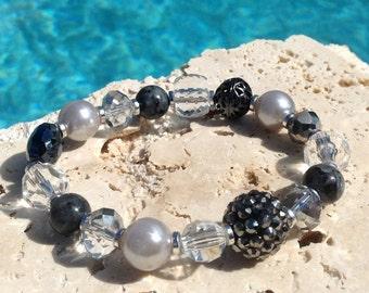 Dark silver and crystal bracelet, silver crystal bracelet, silver bracelet, gunmetal bracelet, dark silver bracelet, labradorite bracelet