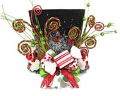 Candy Christmas lighted tree topper,Candy Cane tree topper.Green, Red and white peppermint,  Holiday Hat decoration, Christmas decor.