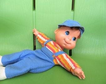 70s Mattel Baby Beans Toy, Boy with Overalls, RARE Collectible