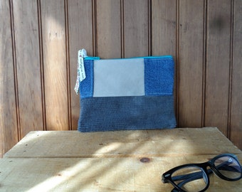 Zip Pouch recycled denim corduroy lined school supply makeup notions knitting bag