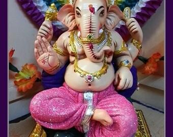 Fridge Magnet, Lord Ganesha, colorful elephant god photo image, remover of obstacles, Spiritual worship