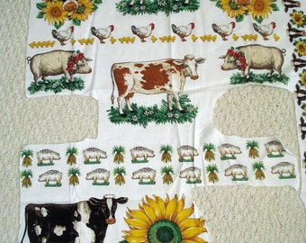 American Homestead Appliques: Cows, Sunflowers, Pigs, Chickens, Corn, Partial Panel