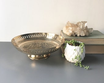 vintage shiny brass footed bowl floral cutout rim boho decor