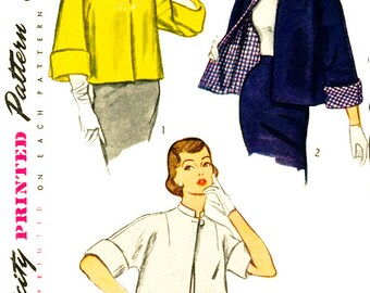 Simplicity 3451 Misses' Vintage 1950s Reversible Topper Jacket Sewing Pattern