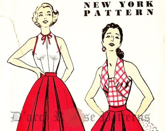 New York 1626 Vintage 1950s Halter Top and Skirt Sewing Pattern Sz 16