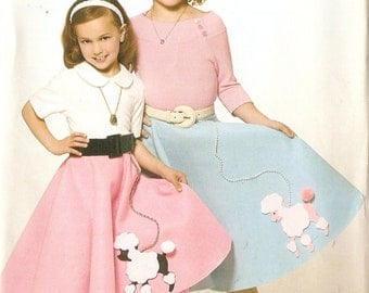 Simplicity S0329 Girls' 1950s Style Poodle Skirt Costume Sewing Pattern 3-14