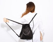Black Leather BackPack - Leather backpack women - Backpack purse - Elegant leather Handbag for women - Every Day Purse