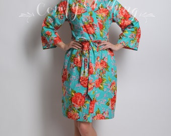 Floral kimono crossover robe, Bridesmaids, maid of honor, spa robe, beach cover up, dressing up robe, bridal, shower, party