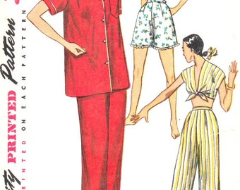 50's Two Piece Pajamas Vintage Sewing Pattern Shirt Short V Neckline Front Tie Crop Top Shorts Pants Simplicity 4312 Pattern Complete