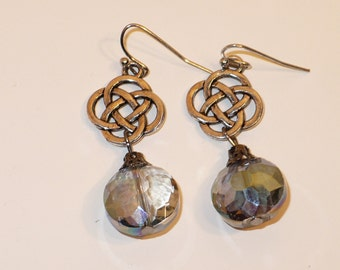Celtic smoky crystal drop earrings.