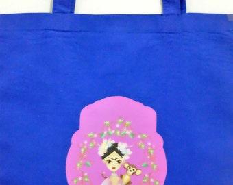 Blue Frida Kahlo Tote Bag