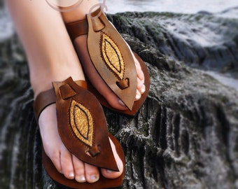 Brown And Gold Leather Sandals, Brown Leather Sandals, Gold Leather Sandals, Womens Leather Sandals, Mens Leather Sandals, Hippie Sandals