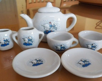 Child's 8 Piece Tea Set~80's Blue Goose/Geese Ceramic Miniature Doll House Play