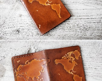 Map Passport Cover Genuine Leather Travel Gift, Wanderlust World Map Travel Wallet