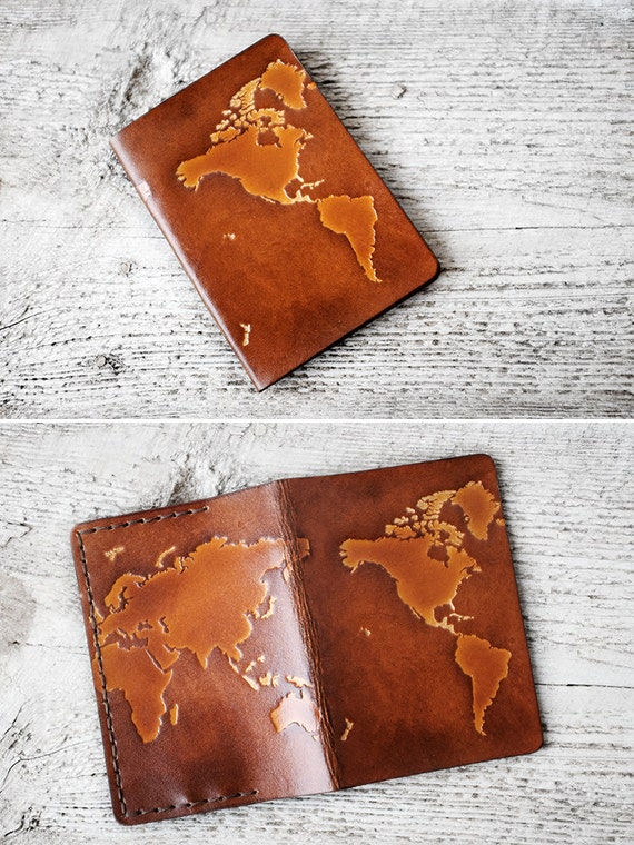 Leather passport cover personalized gift world map travel like this item gumiabroncs Choice Image