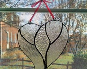 Heart Stained Glass Suncatcher - Clear Glass Heart - Girlfriend Gift - Heart Ornament - Valentines Day Gift - Anniversary Wedding Gift