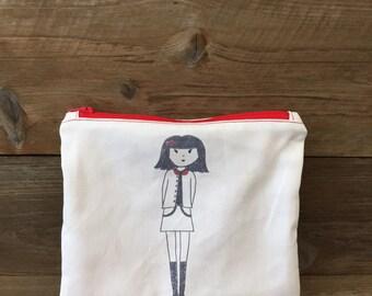 Zipper Pouch - Hand drawn girl red