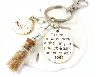 Beach Bottle Keychain, Shell in Pocket Keyring, Shell Keychain, Car Accessories, Seashell Keychain, Beach Keychain, Gold Seashell Keyfob