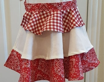Red and white half apron-little girls