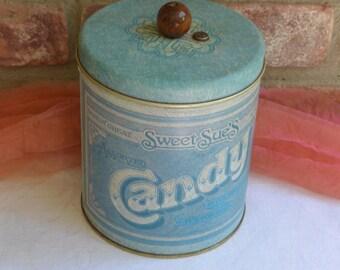 1970's Sweet Sue's Candy Tin - Pentron, Blue, Non Working Music Box - Vintage - Rare!