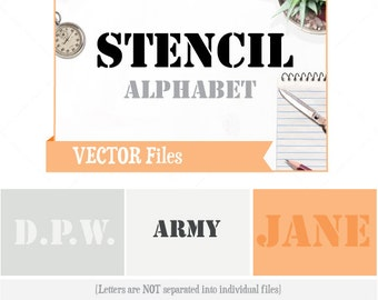 Stencil VECTOR Alphabet/Font: Design/ Instant Download;  .ai .eps .psd .pdf .svg .dxf .emf