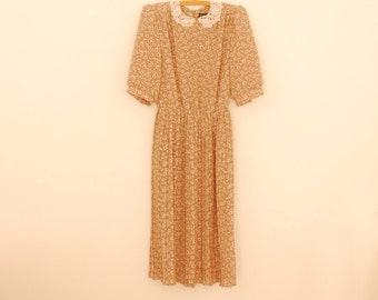 Tan Floral Print Midi-Dress with Lace Collar - 1980s