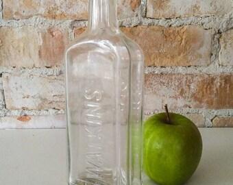 Antique Watkins Linament Bottle, Clear Glass Collectors Apothecary Bottle