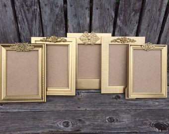 Set of 5 Gold Table Number Frames, Mismatch Set, Ornate Gold Frames, 5x7, 4x6, Wedding Frames, (Los Angeles)