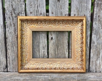 Gold 5x7 Picture Frame, Ornate,Wedding Frame,Wide Chunky Frame,Glass and Backings,Wedding Frame,Not distressed #1556(Los Angeles)