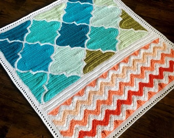 Pattern - BabyLove Brand Trellis and Chevron Blanket - Crochet Pattern/Tutorial - rectangle throw - blanket is also available