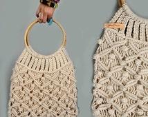 vintage 70's Crochet Bag Deadstock vintage purse hippie tote bags boho purse bamboo unique gifts NOS