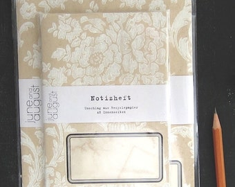 two handmade journals / covers from screen printed antique wallpaper / limited edition