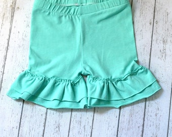 Kids Clothing Girls Shorts, Coral Shorties, Ruffled Shorts, Ruffled Shorties, Knit shorts, Summer Clothes Girls, Girls Clothes, Girls Outfit