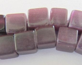1 strand Mauve Glass Beads 6mm x 6mm (61-68 beads)