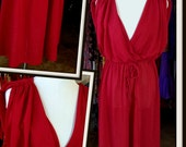 Vintage Red Drape Poly Dress FREE SHIPPING
