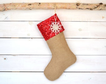 Personalized Christmas Stocking -Red Sequin and Burlap - Christmas Stocking, Burlap Stocking, Stocking