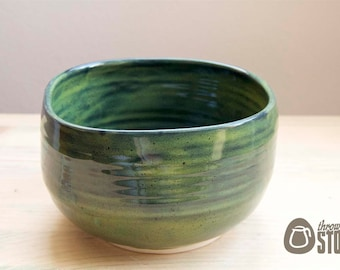 Bowl - Spinach Green Stoneware Dish - Handmade squared Bowl - Home Decor