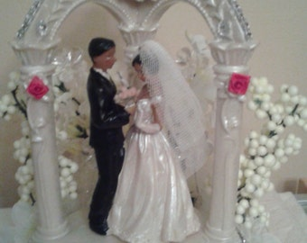 African American Wedding Cake Topper, Uniquely Designed and Individually Handcrafted, Item# Wed-03-014A