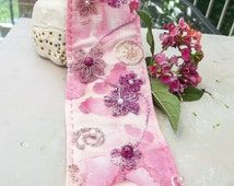 Cherry Blossom Cuff - Cotton with Wire, Thread, and Bead Embroidery Embellishment - One of a Kind
