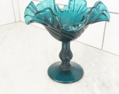 Vintage Blue Glass Compote, Footed Glass Compote, Blue Swirl Glass Candy Dish, Teal Blue Glass Dish