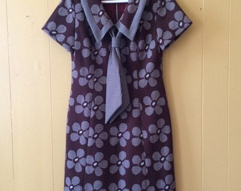 60s Floral Psych Chocolate Brown Dress