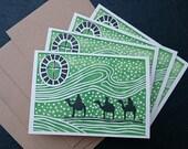 ON SALE  25% OFF, Set of Four Three Kings Lino Print Christmas Cards