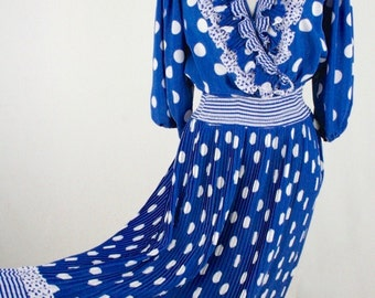1980s Polka Dot and Ruffles Polyester Georgette Dress by Mosaic XS