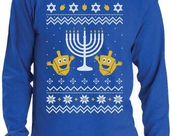 Happy Hanukkah - Ugly Christmas Sweater Men's Long Sleeve T-Shirt