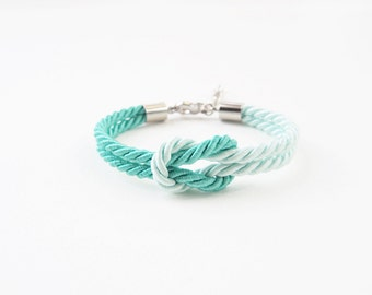 Mint tie the knot bracelet - bridesmaid bracelet - mint wedding - green mint - will you be my bridesmaid bracelet -nautical wedding gift