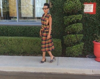 1980's Vintage Preppy Red Tarlton Plaid Skirt/Side Cut Out Top Matching Set