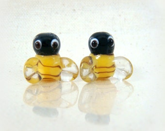 Lamp Work Beads - Bumble Bee Lampwork Beads - 13mm - Qty 2